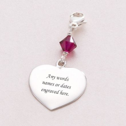 Beautiful Engraved Silver Heart Charm with Birthstone